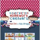 PRINT AND GO!  The Kindergarten Homework Calendars {Math ~ No Prep} are aligned to Common Core and Florida Standards.  This product contains homework calendars with activities from September to May in color and black & white.    The homework calendars are very easy to implement.