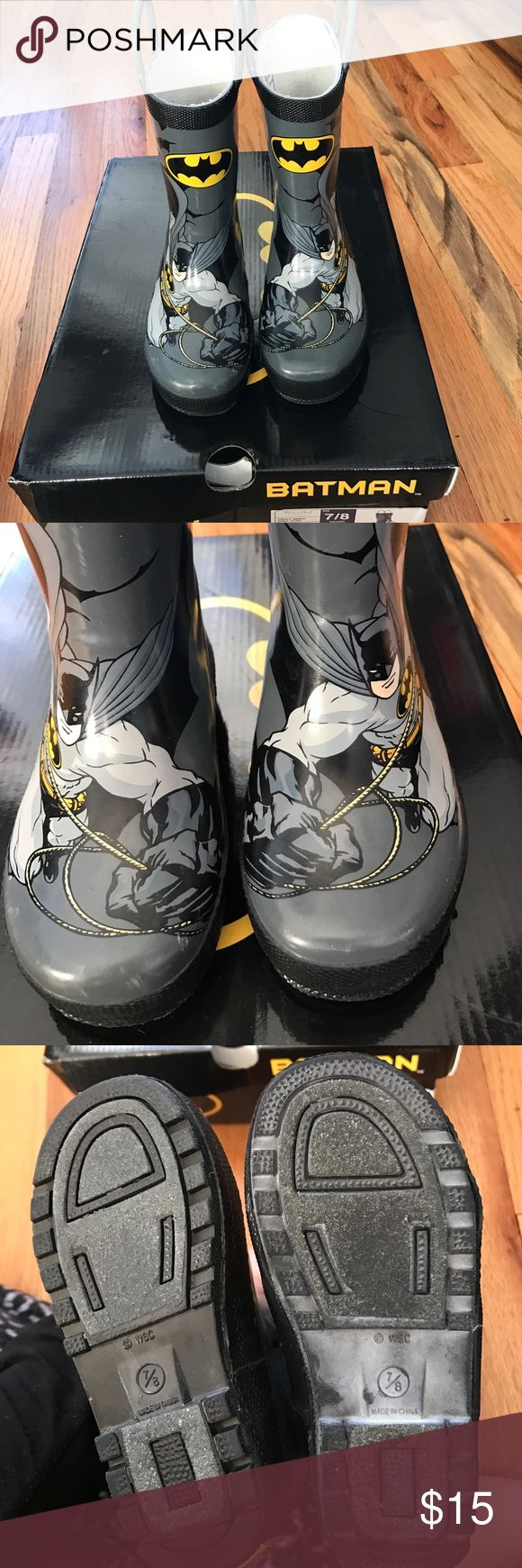 Toddler rain boots with box!  Size 7/8 Western chief toddler rain booties. Batman! Worn with love by my son but unfortunately too small. Scuffs on the toes Western Chief Shoes Rain & Snow Boots