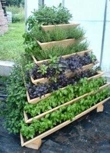 Herb Garden: Gardens Ideas, Garden Ideas, Vertical Gardens, Tiered Herbs, Gardening, Herbs Gardens, Small Spaces, Spaces Savers, Recycled Pallets