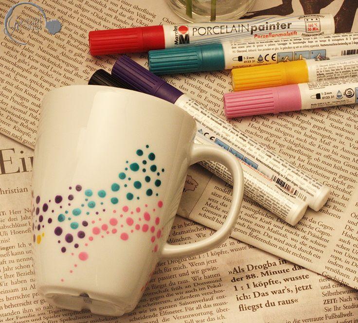DIY Idee zum Tassen und Becher upcycling mit Porzellan Malstiften mit Punkten und Dots