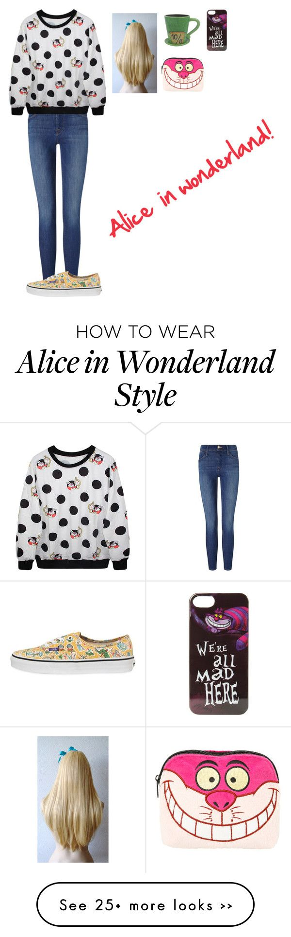 """ALICE IN WONDERLAND! OUTFIT"" by stylejuliet26 on Polyvore featuring Disney, Frame Denim and Vans"