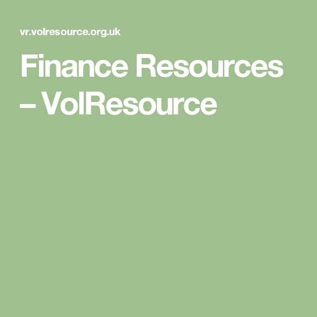 Finance Resources – VolResource