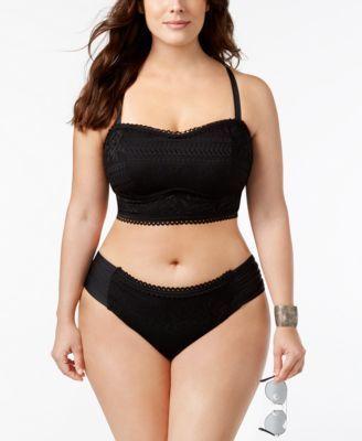 Becca Etc Plus Size Prairie Rose Hipster Bikini Bottoms - Black 1X