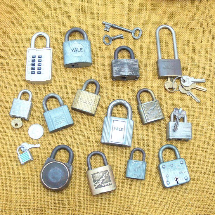 Vintage lock lot-antique lock collection-antique skeleton keys-old master lock-old slaymaker lock-vintage yale lock-old lock bundle by BECKSRELICS on Etsy