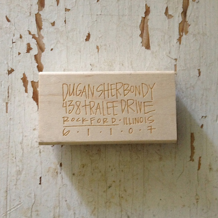 RECOMMEND: Image of Custom Address Stamp // {dugan} $50.00 from Lindsay Letters Shop Maple, wood-mounted red rubber stamp with your custom design etched design on top. Size is 3 x 1.5 inches.