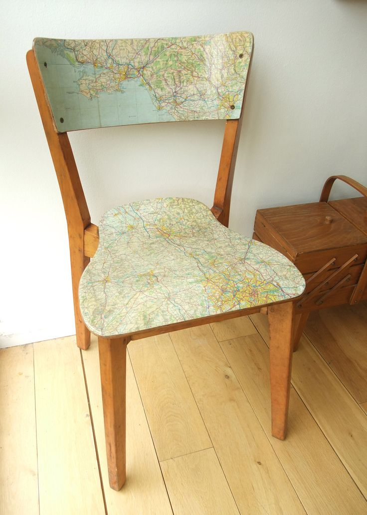 roddy&ginger: 3 good reasons   map decoupaged on plywood chair