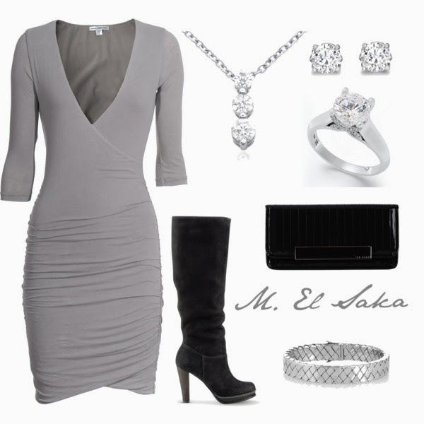 Classy Outfits | Celebrity  James Perse dress, Cole Haan boots, Ted Baker handbag, ring, earrings