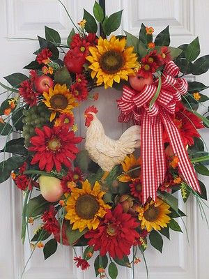 Nice country autumn door wreath...I think I could make this with dried sunflowers?