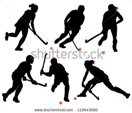 Field Hockey Silhouette on white background - stock vector