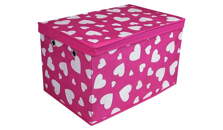 Keep their toys tidied away with this heart print toy box from George Home. Featuring a bright pink and white design, it's the perfect addition for keeping c...