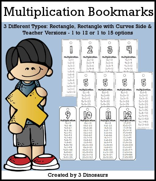 Multiplication Bookmarks Selling Set - 2 different options 1 to 12 or 1 to 15 - with teacher print and easy to cut out bookmarks $2 -…