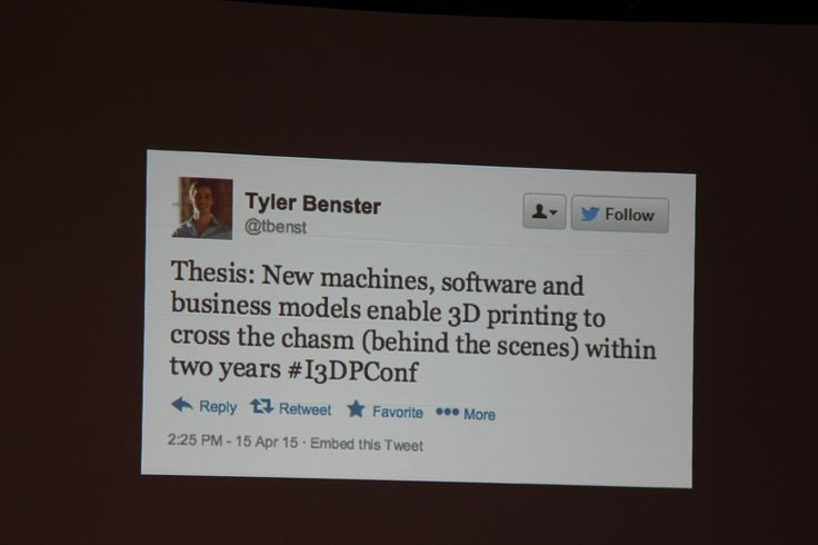 Spotted: A great quote/ Tweet from our friend @tbenst (Tyler Benster, the 3D printing evangelist) taken during #3DPWeekNY.