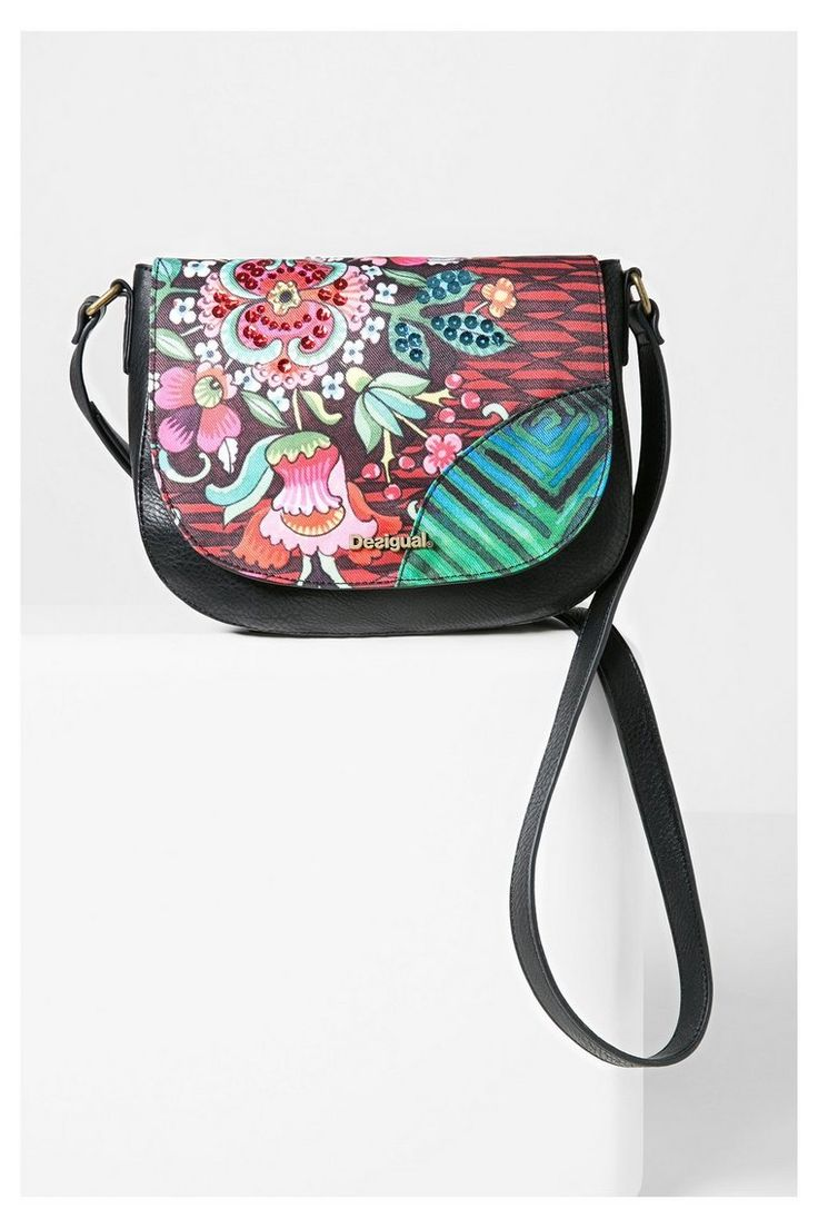 Sac bandoulière noir à motif floral | Desigual.com