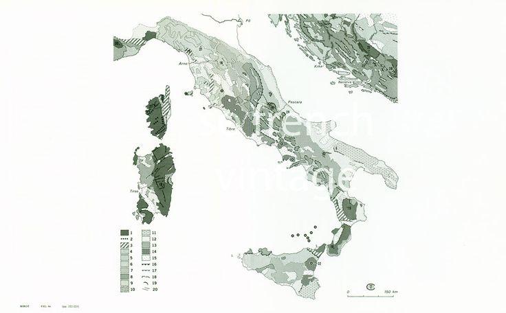 1970 Carte Géologique Italie Sardaigne Corse Relief Géomorphologie de la boutique sofrenchvintage sur Etsy
