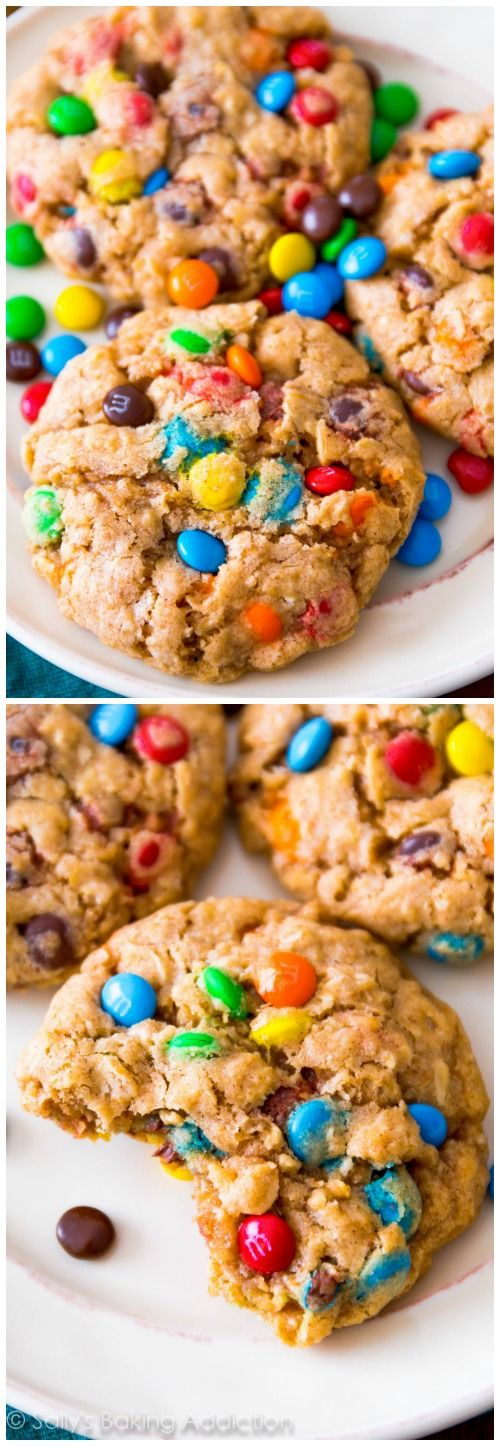 super chewy and soft oatmeal cookies loaded with M&M candies!