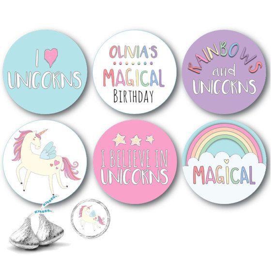 108 Unicorn Birthday Party Hershey Kisses Stickers Label Rainbow Baby Shower