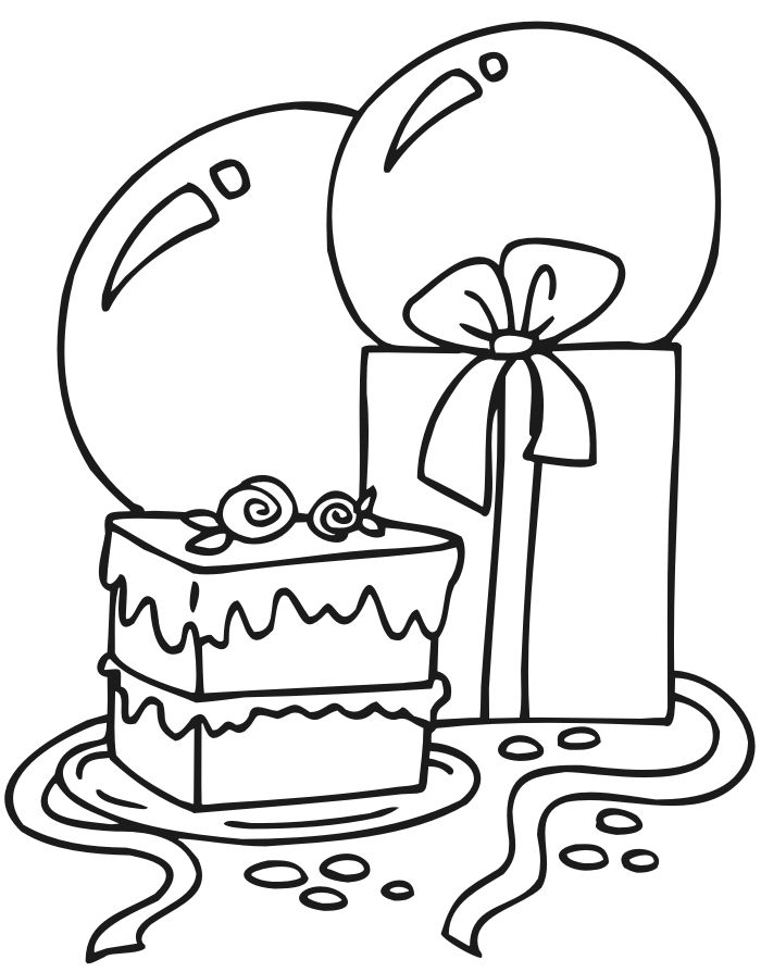 birthday coloring page cake present and balloons
