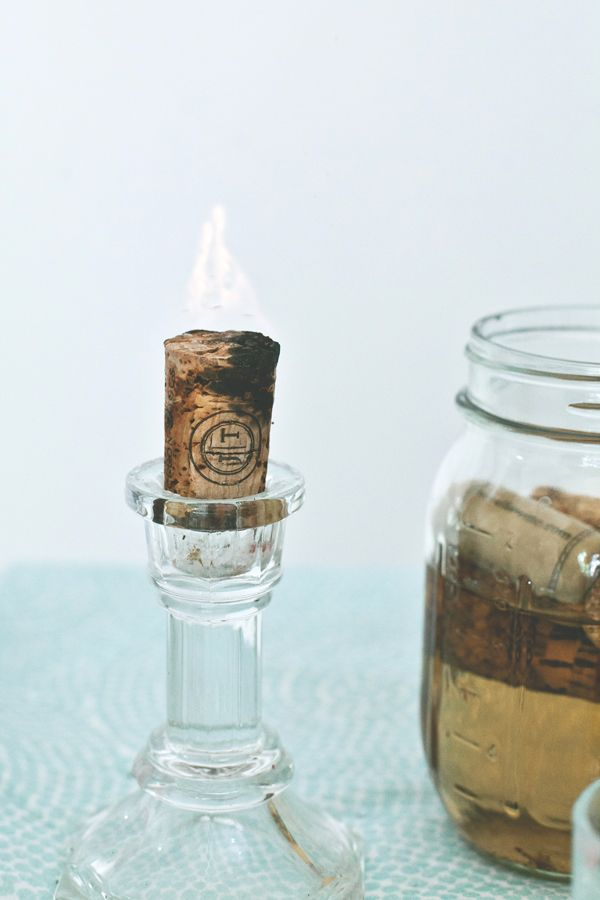Finish your wine and collectcorks. Thensoak them in a capped mason jar filled with aceatone alcohol for a week. Light them up and enjoy ma...
