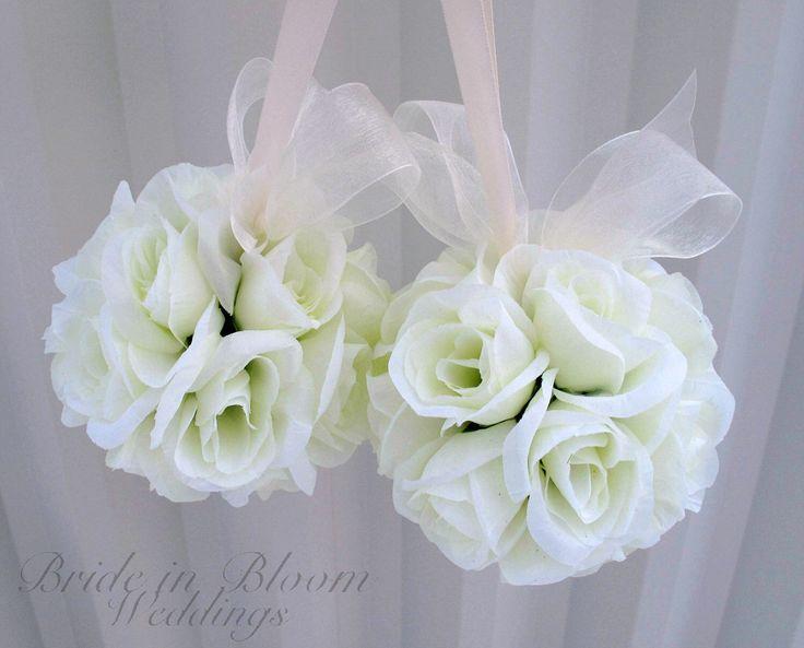 Wedding flower ball pomander Wedding decorations Ceremony Aisle pew markers by BrideinBloomWeddings on Etsy https://www.etsy.com/listing/118435222/wedding-flower-ball-pomander-wedding