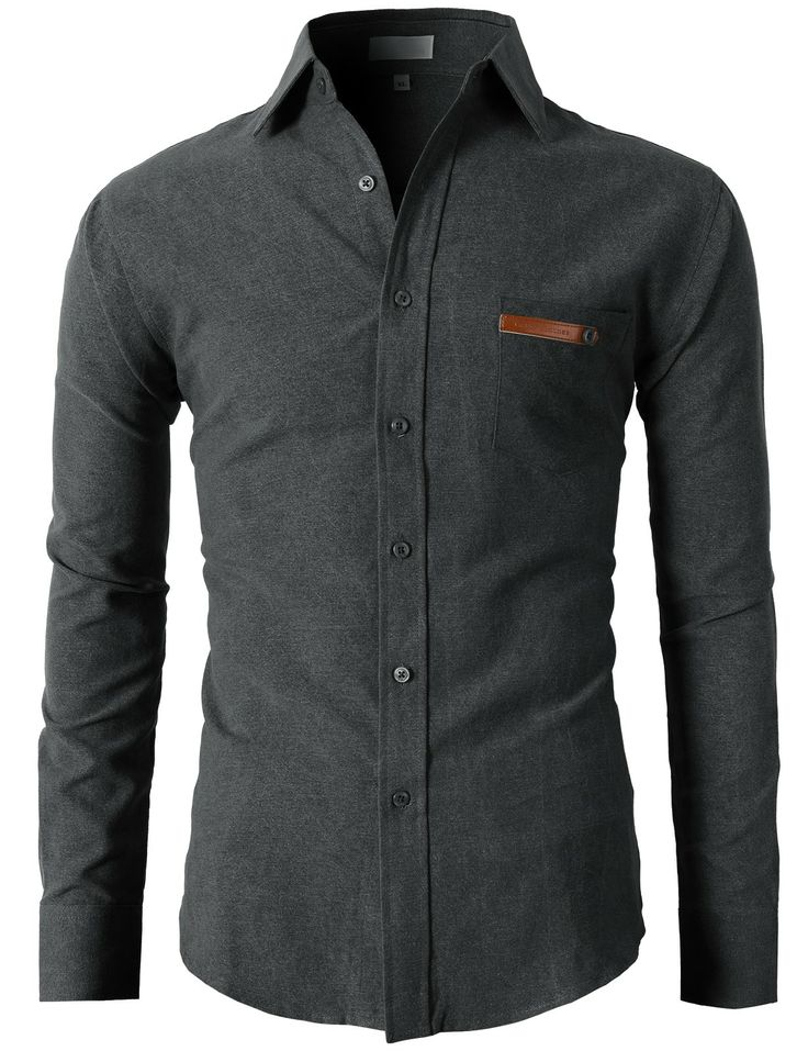 Mens Basic Flannel Solid Slim Fit Button Down Shirts (KMTSTL091) #doublju