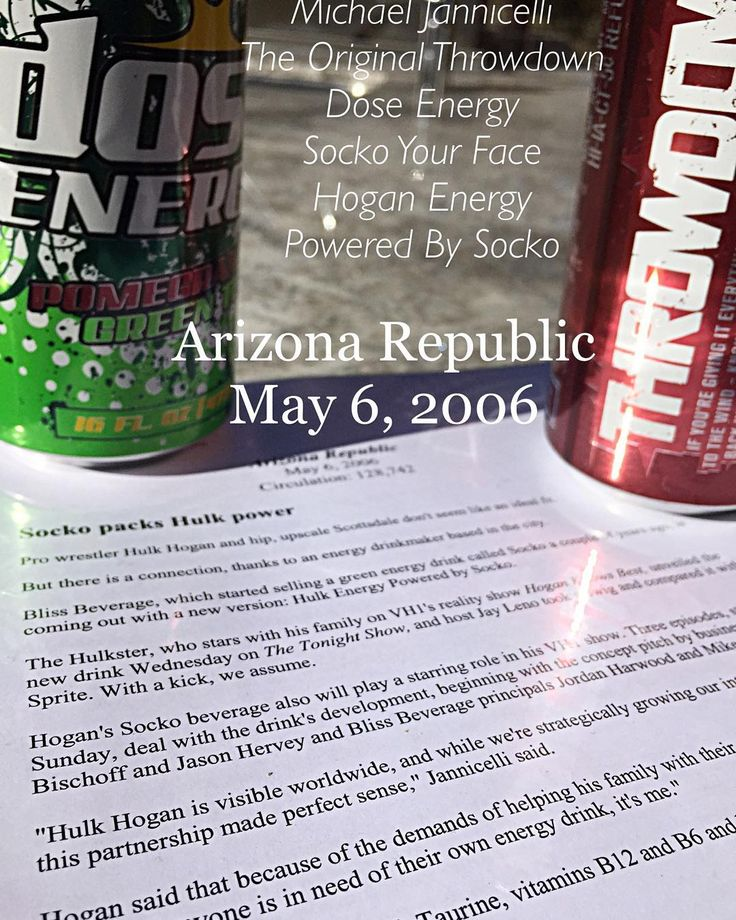 Little #throwdowntuesday - Article in AZ Republic May 6 2006 and we were talking about the partnership with Hulkster to create Hogan Energy Powered By Socko- People don't realise it takes a solid team to create this type of a product and Press- It really was driven by Eric Bischoff and Jason Hervey at BHE who showed me the ropes with the media and PR and we picked Bragman Nyman Cafarelli and Shannom Keller who crushed it for us! - Thank you to all of you and crew! Having all of them to team…