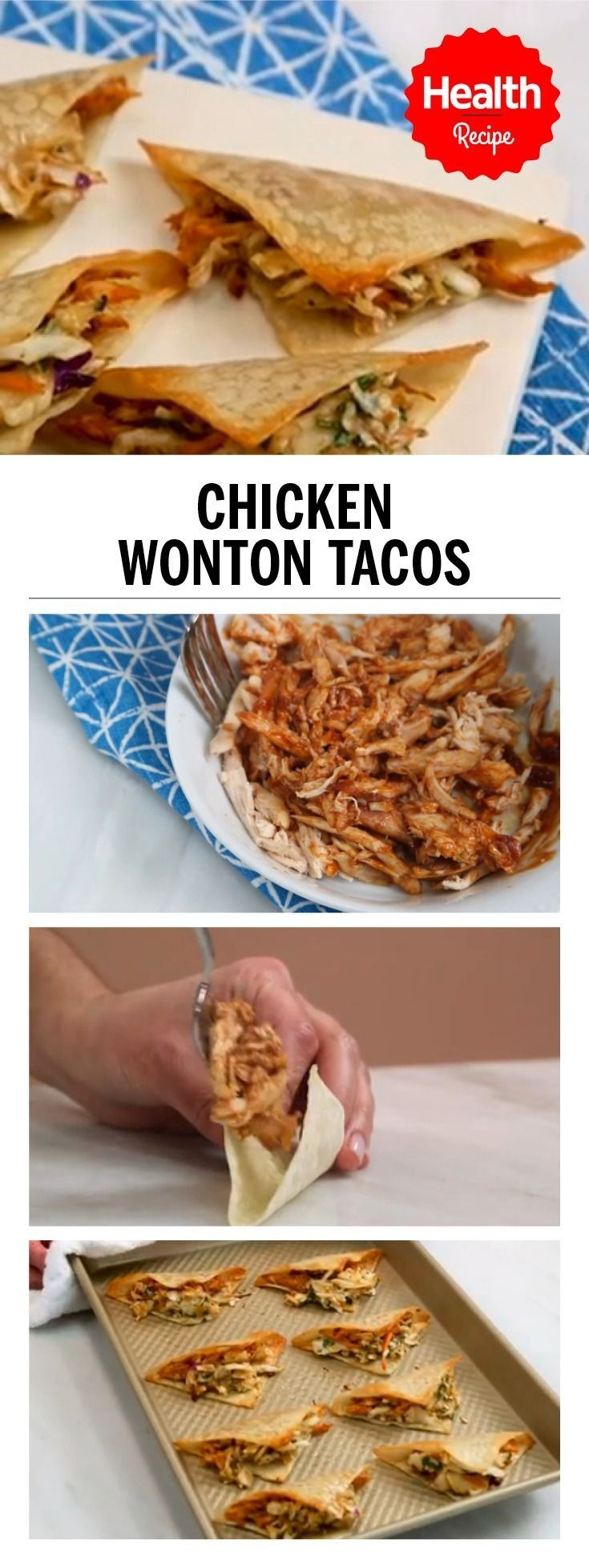 These chicken wonton tacos are a great option for entertaining. Watch this video to learn how to make delicious chicken wonton tacos | Health.com