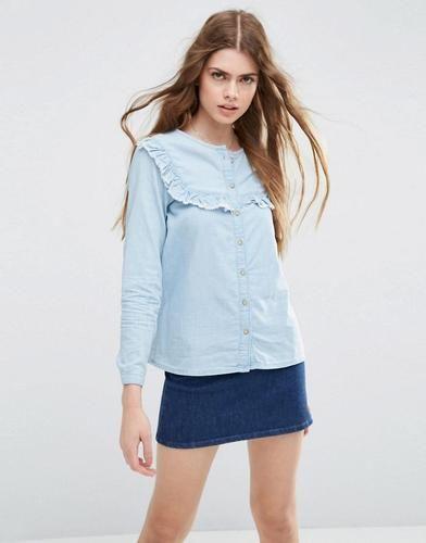 #Asos camicia di jeans con pettorina  ad Euro 42.99 in #Asos #Camicie donna