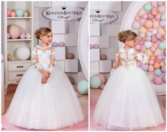 Ivory and Nude Lace Flower Girl Dress  by KingdomBoutiqueUA