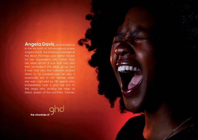 Matie posing as Angela Davis for GHD editorial campaign