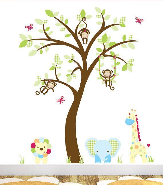 Jungle Wall Decal featuring Lion, Elephant, Giraffe & Monkeys swinging in a tree, baby wall stickers, Safari Nursery, nursery decor