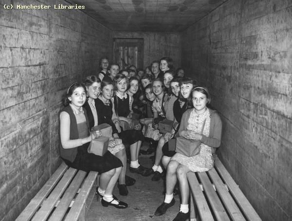 Air-raid shelter | This view shows the interior of a type of communal Air Raid Shelter ...