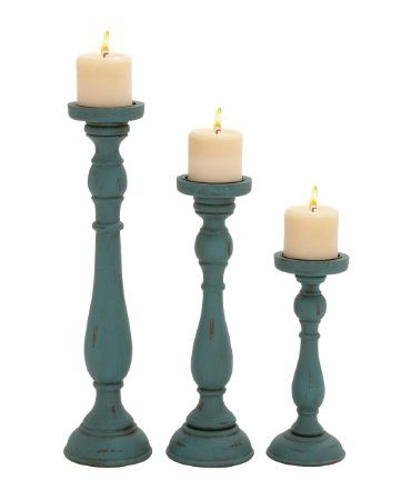 Deco 79 Wood Candle Holder, Teal, 19 by 15 by 11-Inch