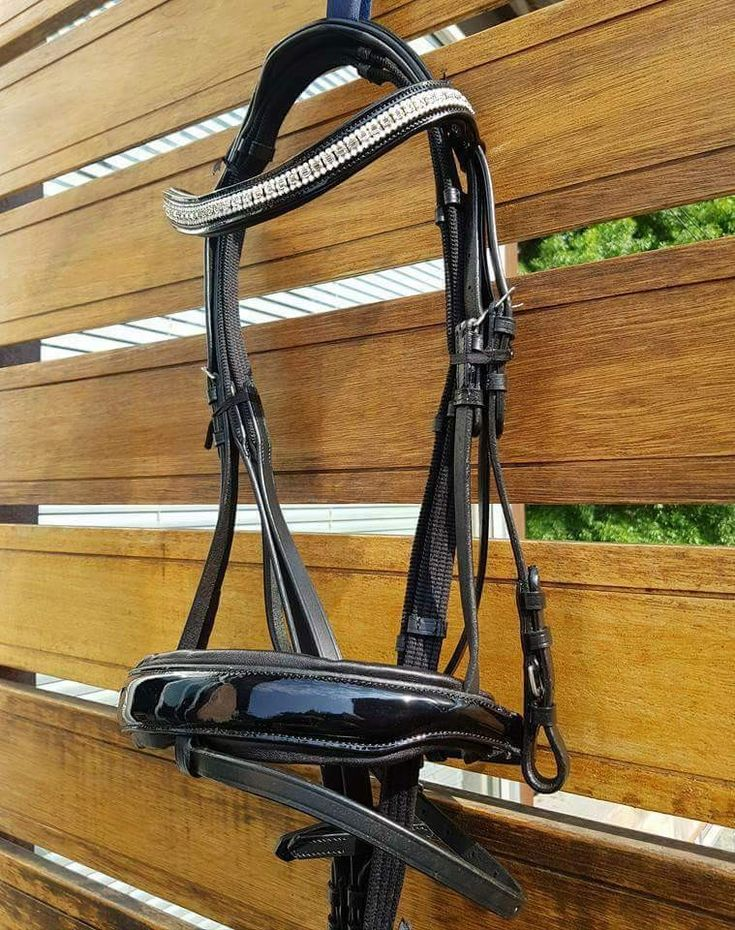 Black on black Novas Equestrian Stella! #leather #bridle #bling