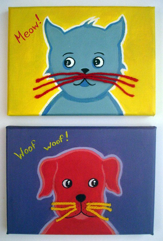 cat and dog canvas set  vintage style wall art by LaCameraFelice, $36.00