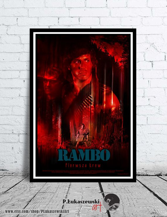 RAMBO - First blood - alternative movie poster / print  - [ Sylvester Stallone - Richard Crenna - Brian Dennehy - John David Morrell 1982 ]