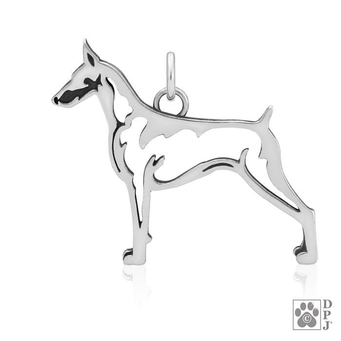 Sterling Silver Doberman Pinscher charm, sterling silver Doberman pendant, sterling silver Dobie breed pendant, Doberman Pinscher breed jewelry, Doberman Pinscher jewelry, Doberman charm, AKC Breed jewelry, Doberman merchandise, Doberman Pinscher gifts, #dobermanpinscher