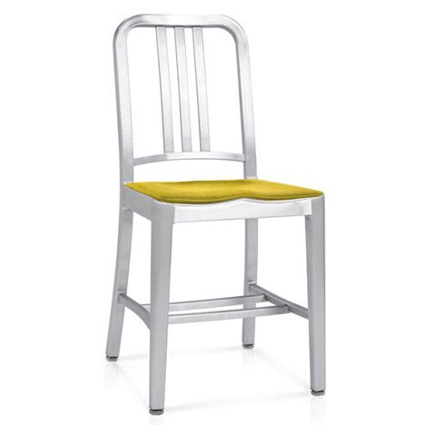 Emeco seat pads for 1006 Navy chair  Owners of Emeco's iconic Navy chair can finally avoid the shock of sitting on ice-cold aluminium with these purpose-made seat pads.