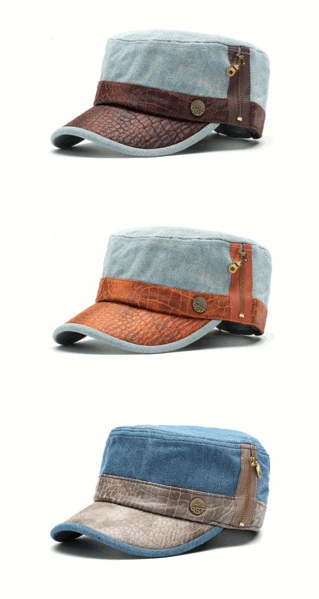 Mens Women Washed Denim Flat Top Military Army Caps Outdoor Visor Baseball Hat Adjustable