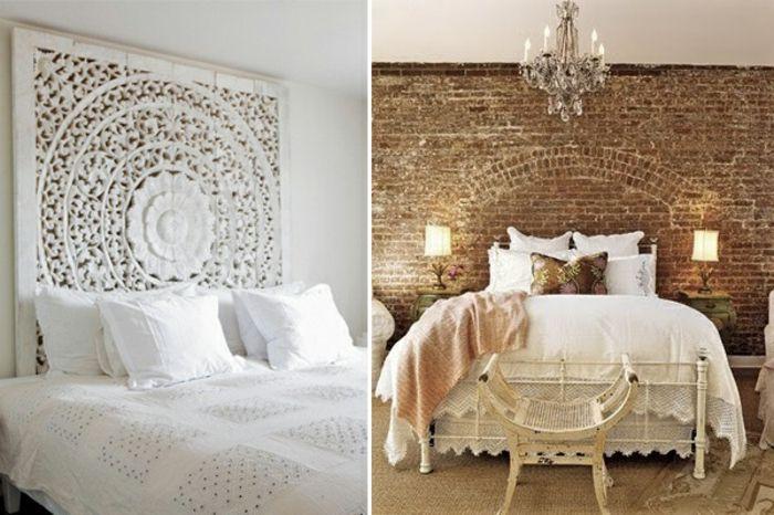como hacer un cabecero, dos ideas de dormitorio vintage en blanco y marrón, cabecero de hierro y pared con ladrillos