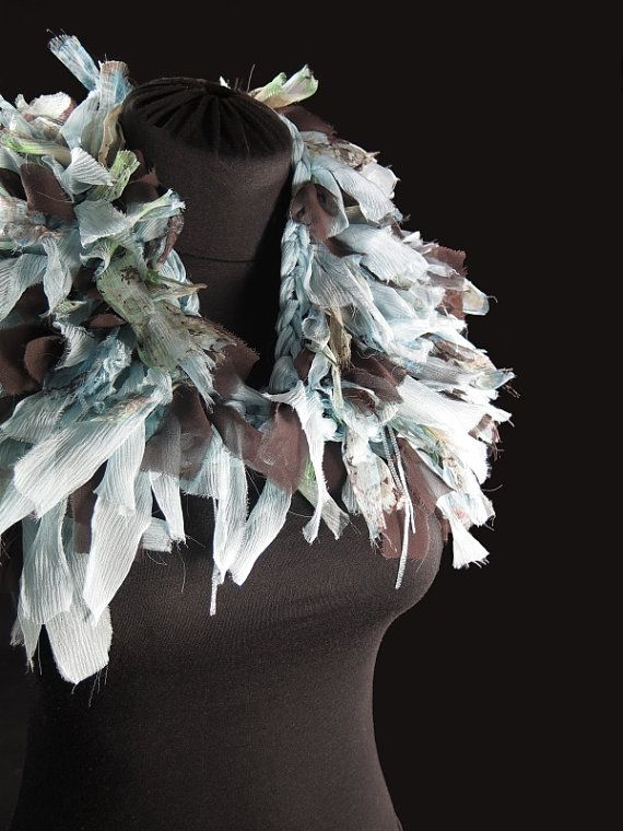 Designer's knitted choker scarf, pure silk, frayed silk ribbons, light blue, brown and green, hand-made by kalani