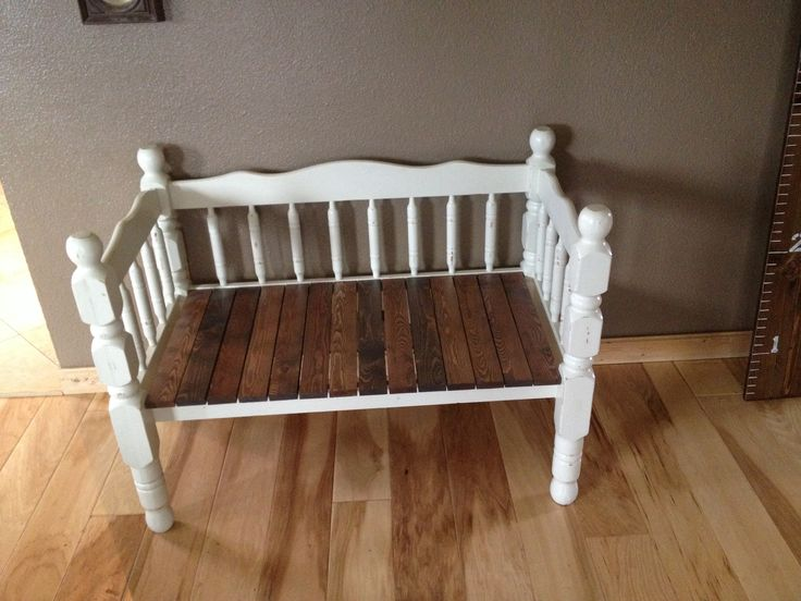 Twin Bed frame bench. Seat made from reclaimed wood ...