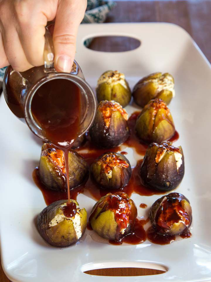 Stuffed Figs with Goat Cheese - Recipe for Roasted Sweet Figs with Tangy Goat Cheese and Date Honey