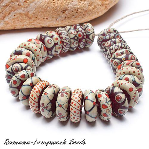 "Romana Lampwork Beads ""Igneous"" | eBay - beautiful combo of patterns and colors"