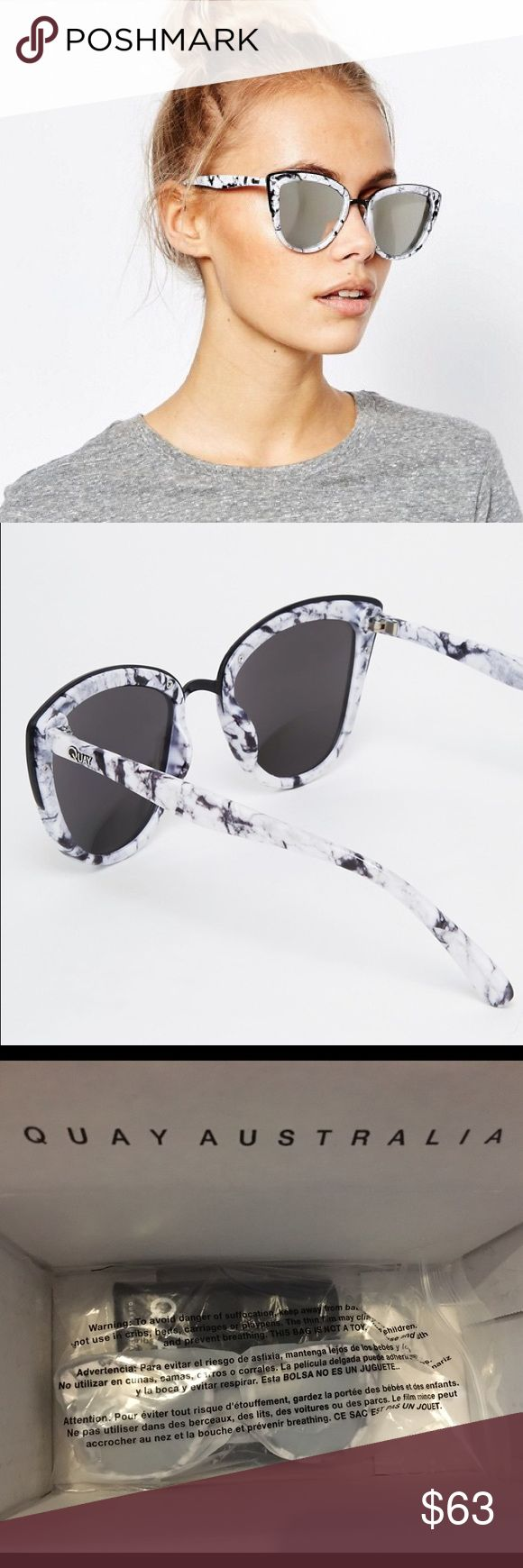 Quay Australia My Girl Marble Sunglasses 💟Quay My Girl 💟Mirrored sunglasses. Marble frame silver lens. 💟Comes with soft case 💟Brand new  🚫🚫TRADES/HOLDS🚫🚫  💰PRICE FIRM💰  🐣Please help me keep my closet friendly & drama free. If you're unhappy with my listing just purchase elsewhere🐣 💟Happy Poshing💟 Quay Australia Accessories Sunglasses