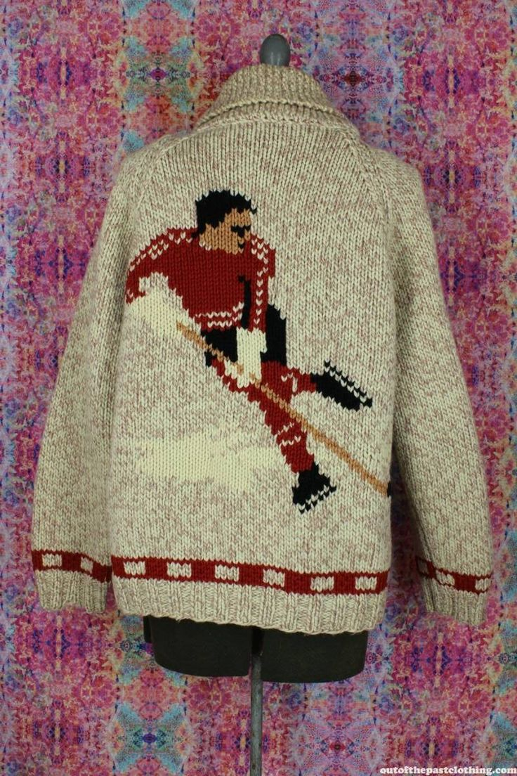 Hockey Player Vintage Curling Sweater