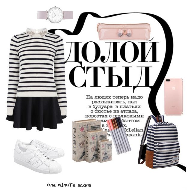 """stripes"" by sheliniap on Polyvore featuring WithChic, Oasis, adidas Originals, Home Decorators Collection, Ted Baker and Abbott Lyon"