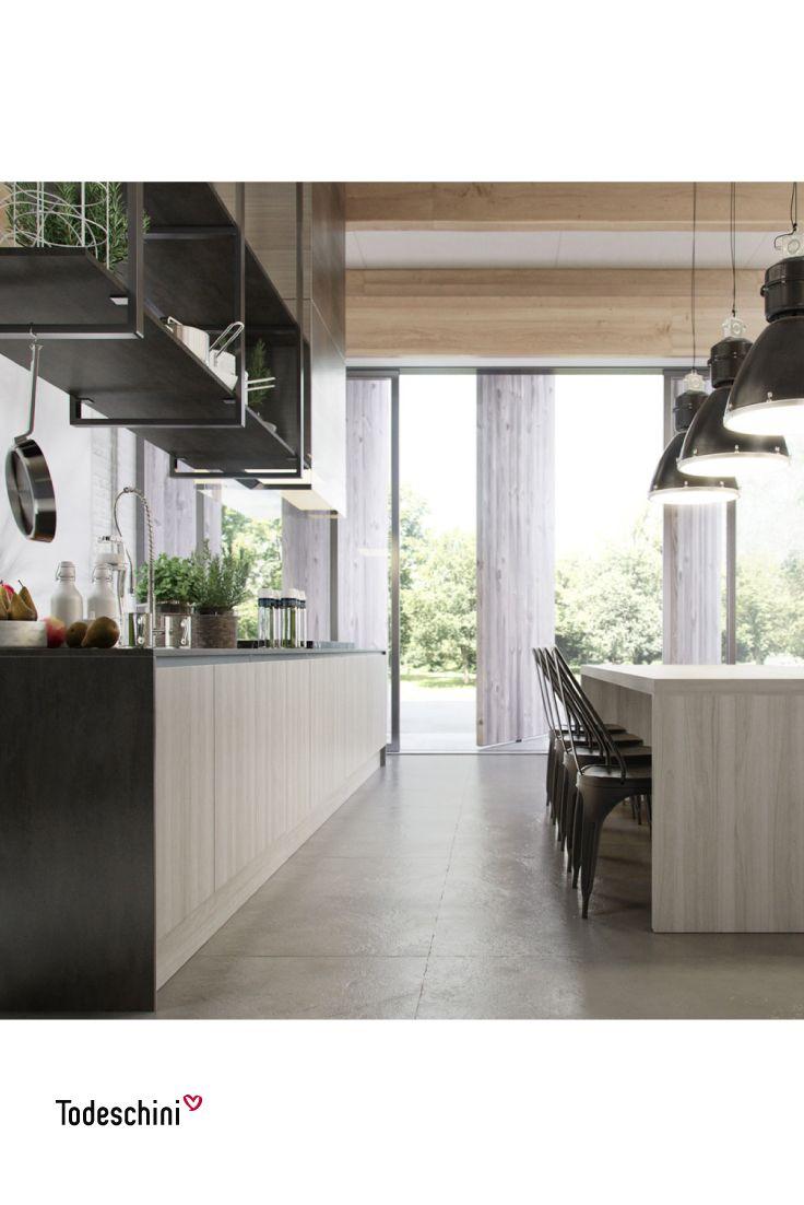 Cocinas modernas en las que podemos compartir las mejores recetas. Diseños funcionales que dan un estilo limpio y elegante a la cocina.  #Diseñodeinteriores #Decoración #Todeschini #ambientes #mueblesamedida #arquitectura #cocinas