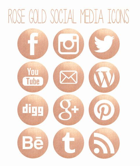 Rose Gold Social Media Icons. Commerical use. by Opheliafpg