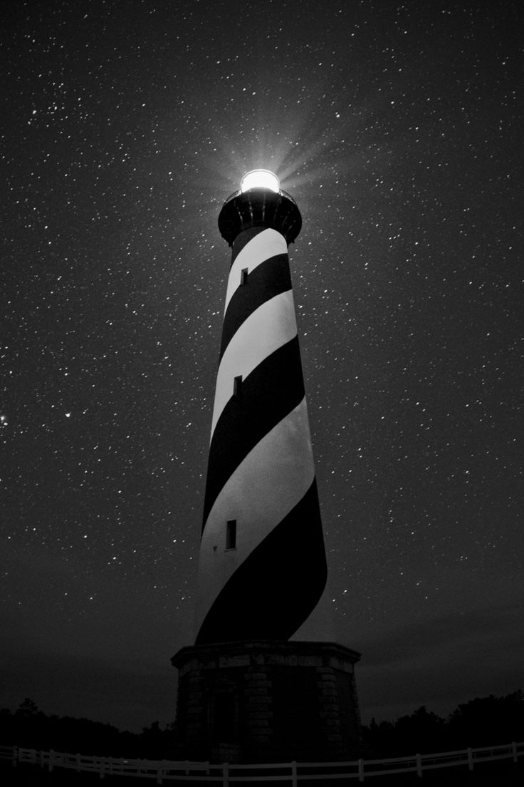 Cape Hatteras Lighthouse at Night - Buxton, North Carolina, USA                                                                                                                                                                                 More