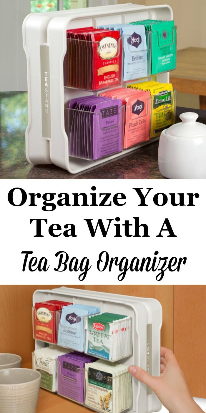 Do you like to drink a variety of tea flavors, depending on your mood or how you're feeling? Instead of digging around in a drawer or your pantry for just the right variety for the occasion, you can use this tea bag organizer to find just what you want. Also great for entertaining to allow your guests to find their favorite flavor of tea as well!